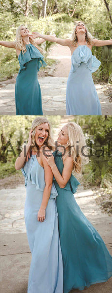 Chiffon Halter Backless Elegant Long Bridesmaid Dresses , AB4101