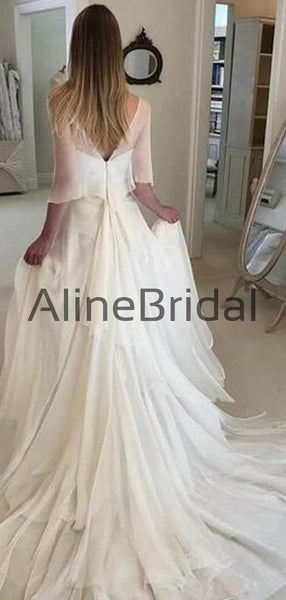 Chiffon Strapless A-line Tiered Train With Shawl Wedding Dresses, AB1560