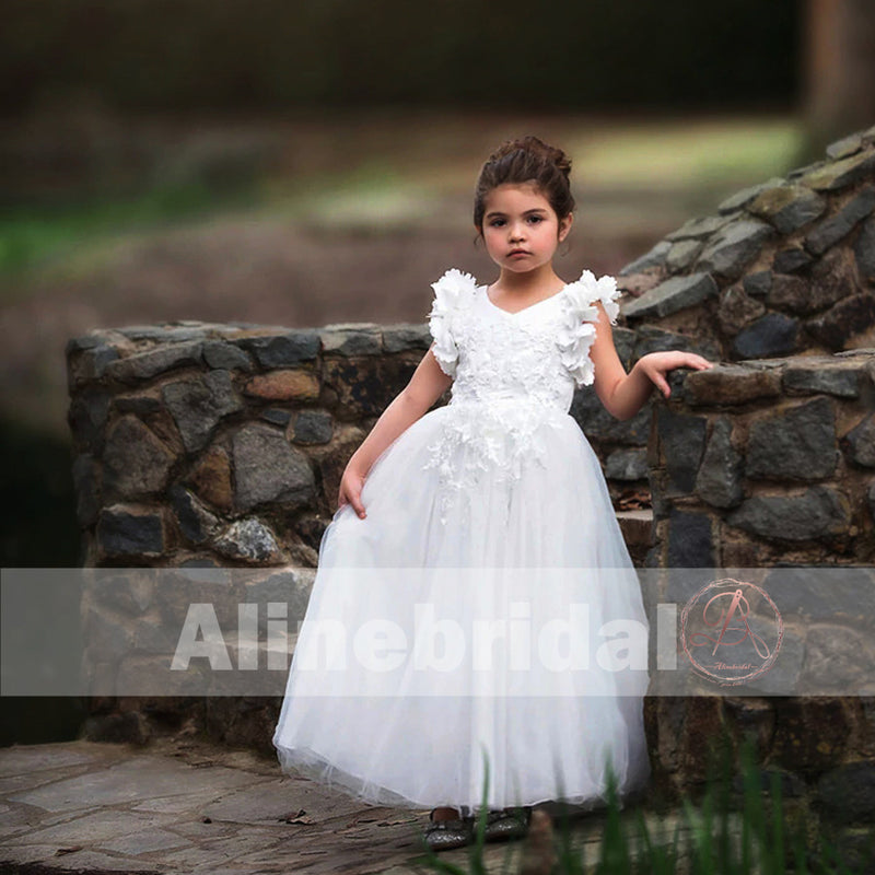Classic Off White Appliques Tulle Pretty Sleeveless Long Flower Girl ...
