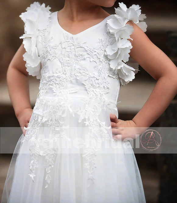Classic Off White Appliques Tulle Pretty Sleeveless Long Flower Girl Dresses, FGS070