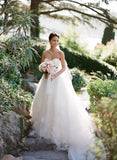 Classic Style Ivory Tulle Handmade Flower Applique Strapless Wedding Dresses, WD0157