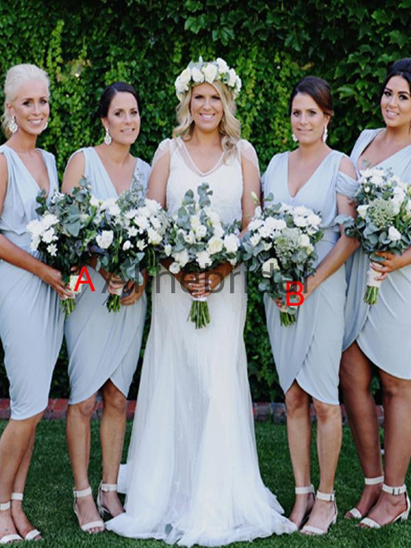 Custom V-neck Elegant Beach Short Bridesmaid Dresses AB4205