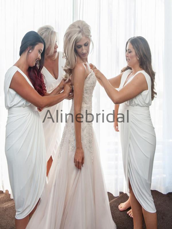 Custom White Simple Hot Beach Short Bridesmaid Dresses AB4206