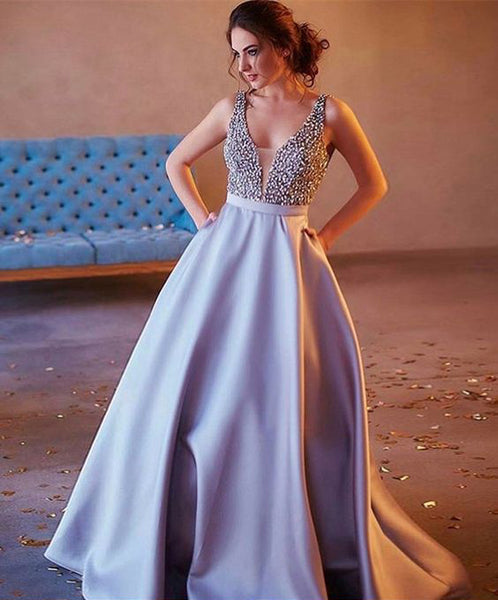 7a5dc26cae04a Custom Charming V-neck Sexy Popular A-line Sparkly Ball Gown Long Prom  Dresses