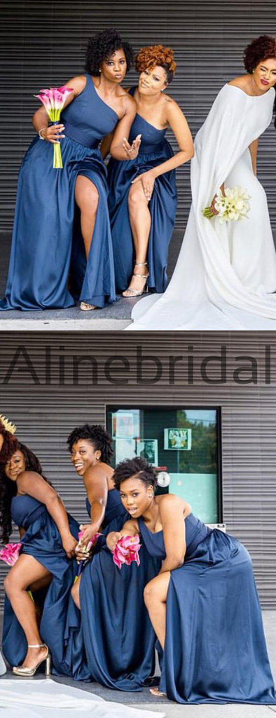 Dark Blue One Shoulder Silt Simple Bridesmaid Dresses, AB4039