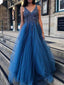 Dark Blue Tulle Sequin Beads V-neck Backless Prom Dresses ,PD00362