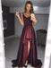 Dark Burgundy Soft Satin High Low Sleeveless Long Prom Dresses ,PD0152