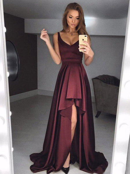 a7113e7be1b FEATURED PRODUCTS. Your product s name.  200.00. Dark Burgundy Soft Satin  High Low Sleeveless Long Prom Dresses .