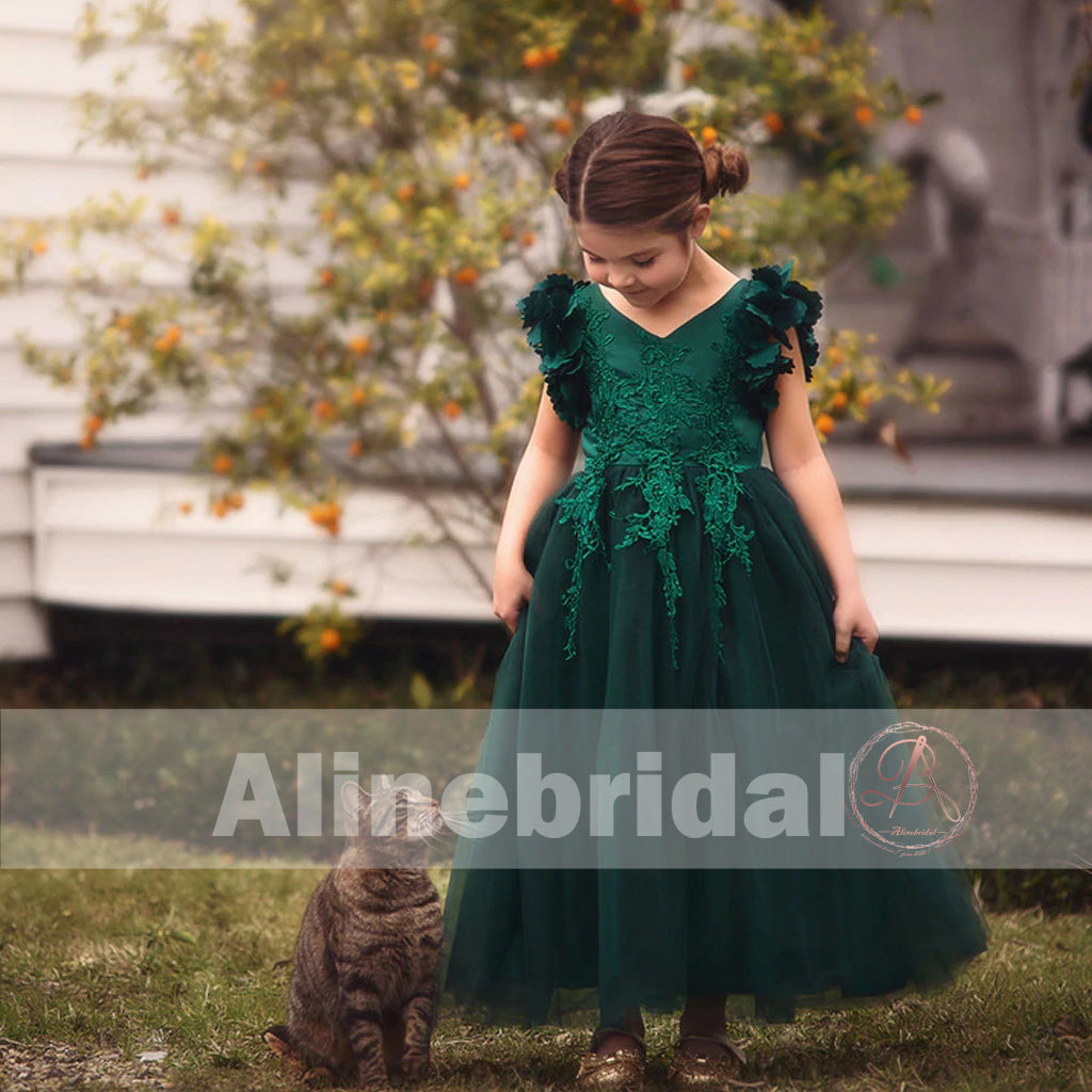Dark Green Appliques Tulle Pretty Sleeveless Long Flower Girl Dresses, FGS072