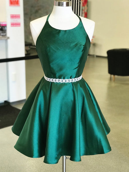 Dark Green Satin Spaghetti Strap Halter Open Back Homecoming Dresses,HD0044