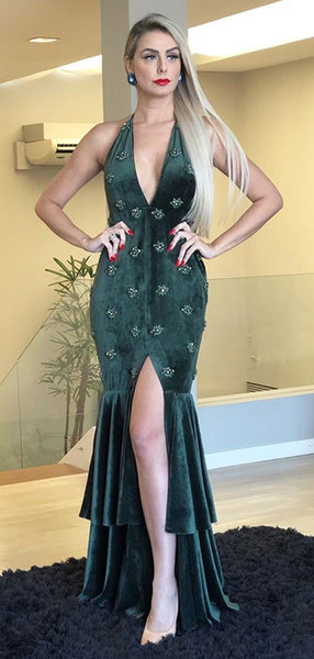 Dark Green Velvet Beading Mermaid Halter Slit Prom Dresses.PD00260