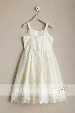 Dark Ivory Lace Spaghetti Straps A-line Flower Girl Dresses, FGS094