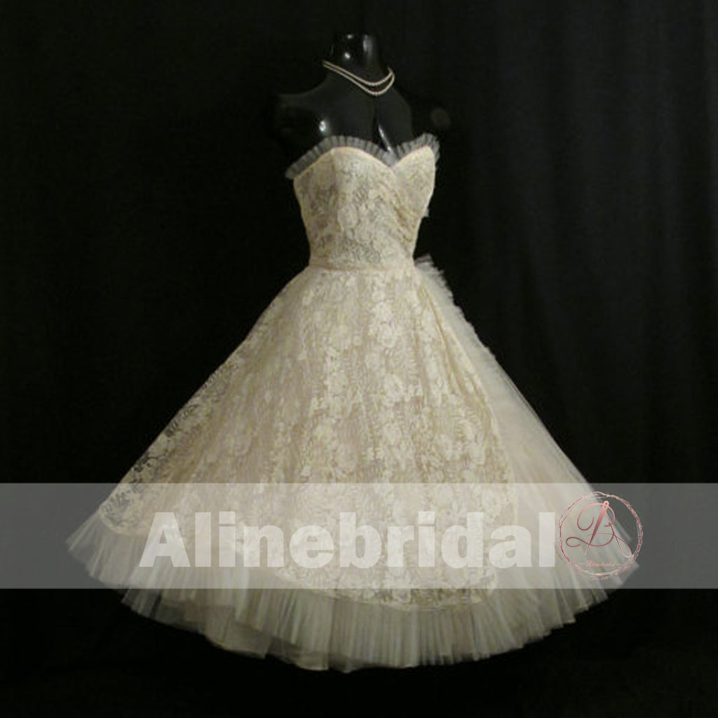 Dark Ivory Lace Sweetheart Strapless Vintage Homecoming Dresses,HD0006