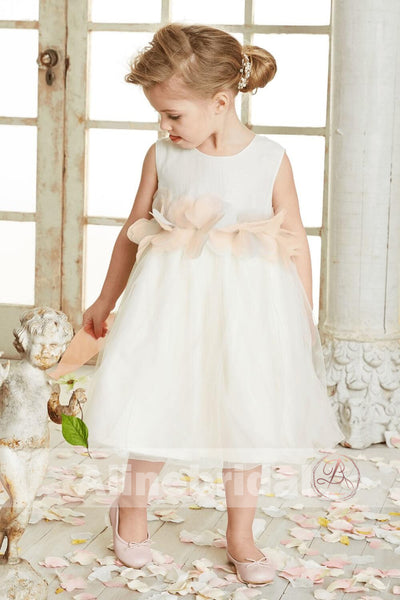 Dark Ivory Satin Tulle Sleeveless With Unique Sash Flower Girl Dresses, FGS090