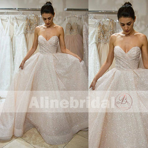 Dark Ivory Sparkly Bling Sequin Sweetheart Strapless Cheap Wedding Dresses, AB1149