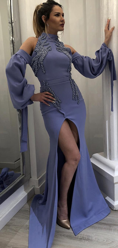 Dark Lavender High Neck Long Sleeves Unique Prom Dresses,PD00190
