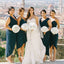 Dark Navy High Low Ankle Length Sleeveless Bridesmaid Dresses, WG32