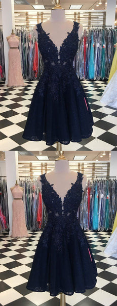 Dark Navy Lace Beading Sleeveless Illusion Homecoming Dresses,HD0039
