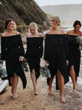 Dark Navy Off Shoulder Long Sleeve High Low Knee Length Bridesmaid Dresses, AB4105