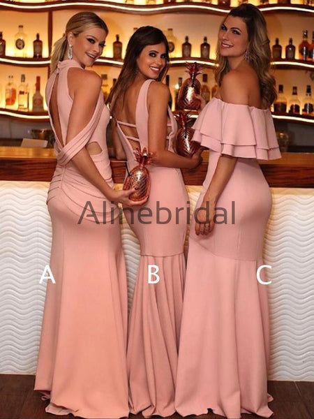 Dark Peach Mismatched Mermaid Unique Long Bridesmaid Dresses, AB4092