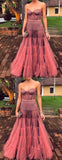 Dark Peach Tulle Sweetheart Strapless Illusion Prom Dresses,PD00308