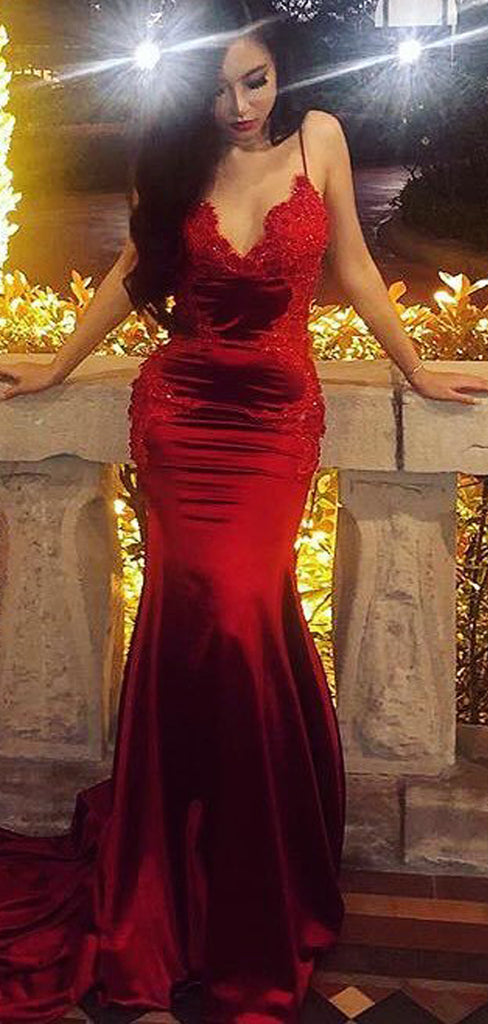 Dark Red Lace Applique Jersey Spaghetti Strap Mermaid Prom Dresses.PD00217