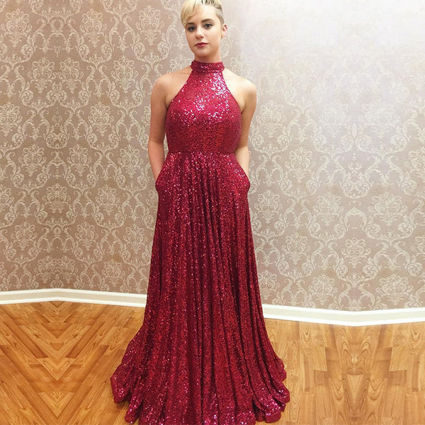 Dark Red Sequin Halter A-line Pockets Simple  Long Prom Dresses,PD00054
