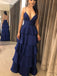 Dark Royal Blue Spaghetti Strap Tiered High Waist Prom Dresses,PD00379