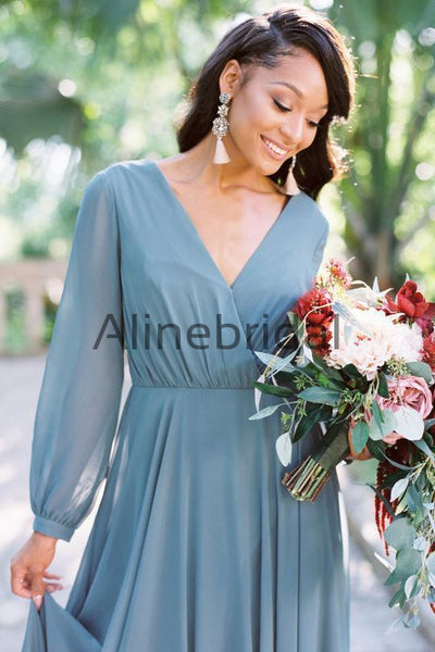 Dusty Blue Chiffon Long Sleeve A-line Bridesmaid Dresses , AB4057