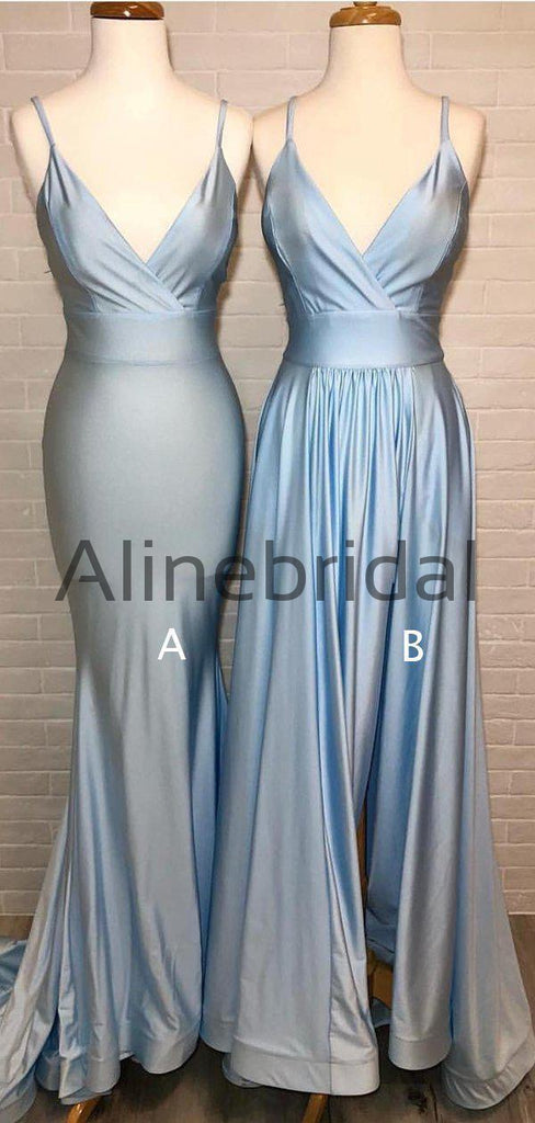 Dusty Blue Mismatched Spaghetti Strap Mermaid Bridesmaid Dresses, AB4052