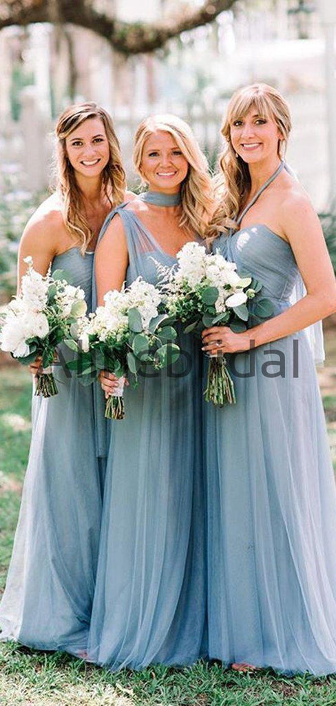 Dusty Blue Tulle Convertible A-line Long Bridesmaid Dresses, AB4050