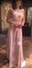 Dusty Pink Halter Slit Sheath Long Prom Dresses.PD00282