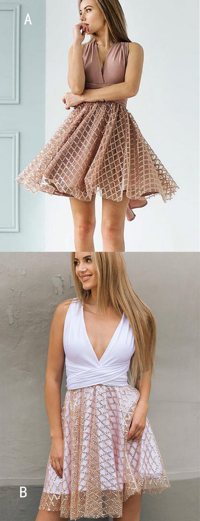 Dusty Pink Jersey Convertible Top Sequined Plaid Skirt Homecoming Dresses,HD0053