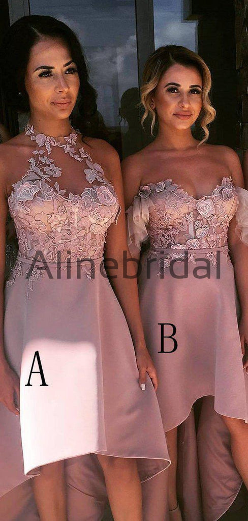 Dusty Pink Lace Mismatched High Low Fashion Bridesmaid Dresses, AB4035