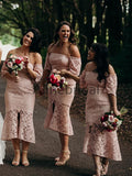Dusty Pink Lace Off Shoulder Sheath Tea Length Bridesmaid Dresses , AB4123