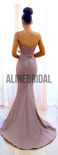 Dusty Pink Lace Spaghetti Strap Mermaid Bridesmaid Dresses, AB4019