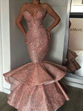 Dusty Pink Satin Shiny Lace Strapless Mermaid Prom Dresses,PD00185