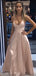 Dusty Pink Satin Spaghetti Strap A-line Simple Prom Dresses,PD00288