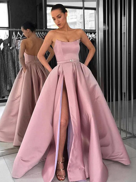 bbd2c452c6c Dusty Pink Satin Strapless Pockets Ball Gown Prom Dresses