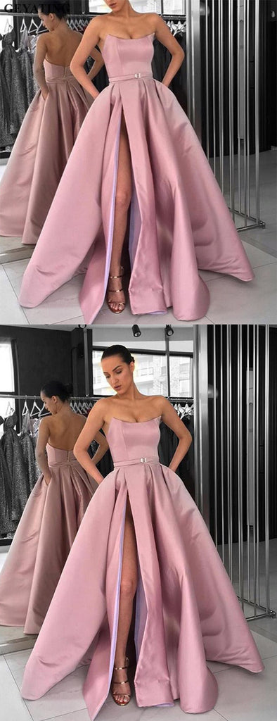Dusty Pink Satin Strapless Pockets Ball Gown Prom Dresses,PD00151