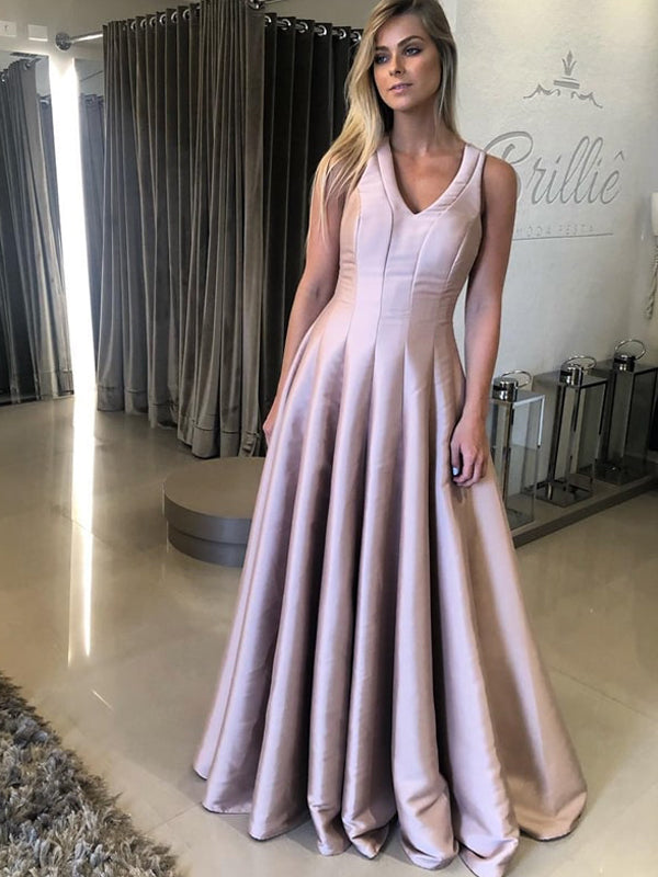 Dusty Pink Sleeveless A-line Satin Simple Prom Dresses.PD00252