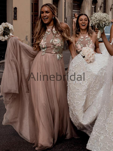 a40cee1ff6dc products/Dusty_Pink_Tulle_Mint_Applique_Spaghetti_Strap_Backless_Bridesmaid_Dresses_AB4113-1.jpg