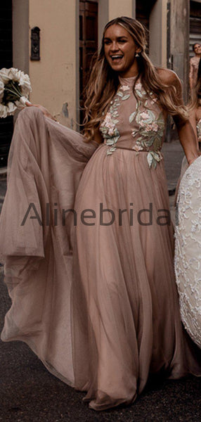 Dusty Pink Tulle Mint Applique Spaghetti Strap Backless Bridesmaid Dresses, AB4113