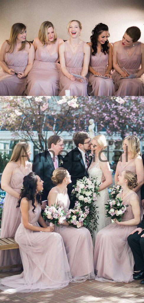 Dusty Pink Tulle V-neck Sweetheart Neckline Long Bridesmaid Dresses, AB4112
