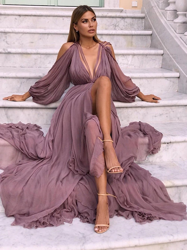 Dusty Purple Chiffon Long Sleeve Fashion Elegant Prom Dresses,PD00346