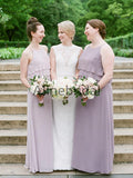 Dusty Purple Chiffon Spaghetti Strap A-line Long Bridesmaid Dresses, AB4133