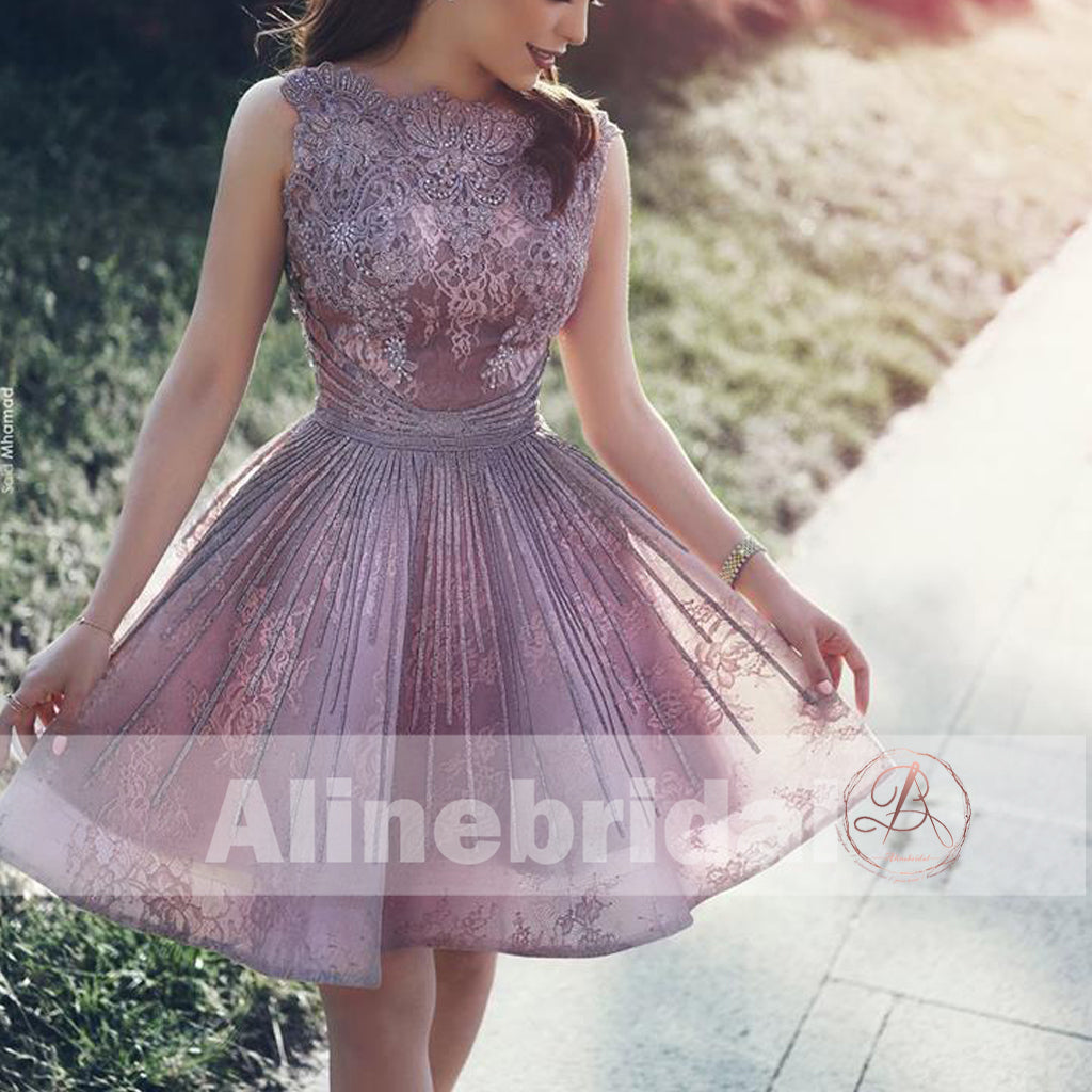 Dusty Purple Organza Lace With Beads Backless Homecoming Dresses, HD0002
