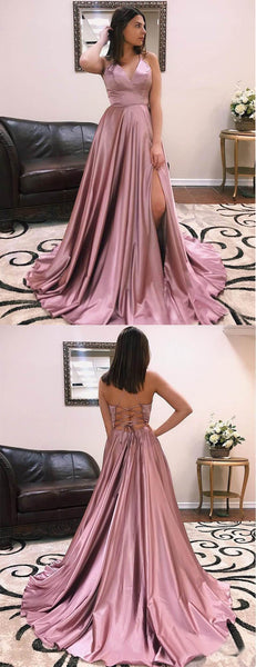 Dusty Rose Elastic Satin Spaghetti Strap Lace Up Back With Slit Prom Dresses,PD00374
