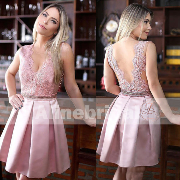 Dusty Rose Lace Satin With Beaded Sash V-neck Homecoming Dresses,BD00230
