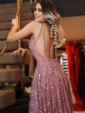 Dusty Rose Lace Sexy Backless Spaghetti Strap A-line Party Prom Dresses,PD00150